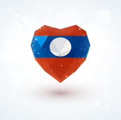 Flag of Laos in shape diamond glass heart. Triangulation style Stock Illustration