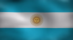 Close-up flag of Argentina ripples in a breeze. Argentina Flag waving in slow mo Stock Footage