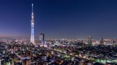 Tokyo, Japan night skyline at the Skytree. Stock Footage