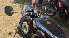 Old motorcycle - Motobecane type B3C (1933) - panoramic, close up Stock Footage