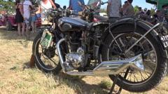 Old motorcycle - Motobecane type B3C (1933) - profile Stock Footage