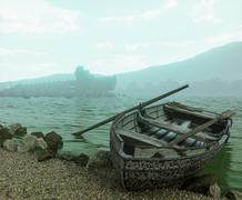 Apocalyptic concept background with old boat on the beach Stock Illustration