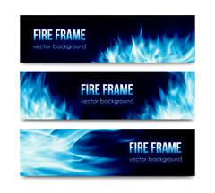 Abstract vector banners set with blue fire flames Piirros