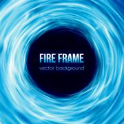 Vector banner with blue color burning fire frame Piirros
