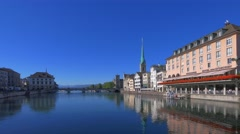 View of Zurich at a sunny day, Switzerland, Europe Stock Footage