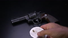 POLICE DETECTIVE TURNS IN HIS BADGE & GUN Stock Footage