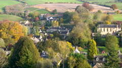 Autumnal view over typical Cotswold Village of Naunton, Gloucestershire, UK. Stock Footage