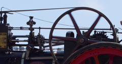 Steam powered threshing (Thrashing) machine at work, 2K Slow Motion Stock Footage