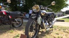 Old motorcycle - Motobecane type B3C (1933) - close up on light + medium shot Stock Footage