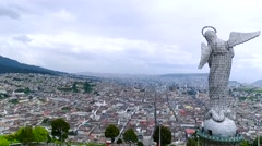 Aerial of The statue of La Virgen de Quito overlooks the city Stock Footage