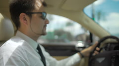 Businessman wearing sunglasses driving expensive automobile, transportation Stock Footage