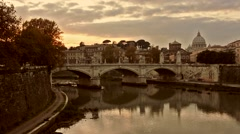 Rome Skyline on the river Stock Footage