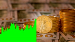 4K US Mint pure gold coins with overlaid green price chart Stock Footage
