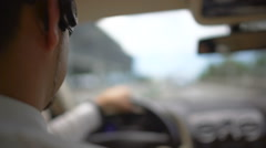Busy businessman driving to work over the bridge, urban traffic, transportation Stock Footage