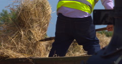 Worker forks hay bales from trailer to threshing machine, 2K 150fps Stock Footage