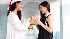 Asia thai teen beautiful girl happy new year and Give a Gift Friends Stock Footage