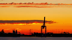 4K Tall Shipping Port Crane, Cargo Shipping Container, Large Machine Stock Footage