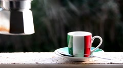 Pour italian coffee. Cup with italian flag. Full HD Stock Footage