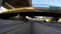 Los Angeles Harbor 110 Freeway Traffic Driving Time Lapse Stock Footage