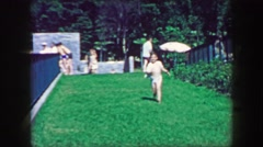 1957: Kid running towards mother public park down green grassy slope. GLEN, NEW Stock Footage