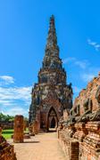 Majestic ruins of 1629 Wat Chai Watthanaram built by King Prasat Tong with it Stock Photos