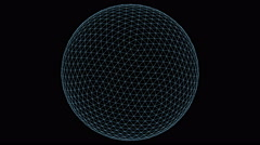 Retro 3D Vector Sphere Wireframe Stock Footage