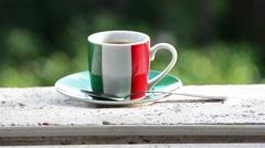 Italian coffee. Cup with italian flag. Full HD Stock Footage