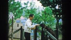 1957: Wacky ham showboat dad stylishly feeding farm goat behind fence. GLEN, NEW Stock Footage