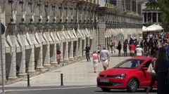 4K Traffic street in downtown Corfu Island people travel in hot summer town icon Stock Footage