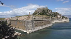 4K Aerial view of ancient fortification in Corfu Island Venetian fortress emblem Stock Footage