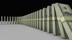 3D animation of pile of US dollar banknotes falling and effect another domino Stock Footage