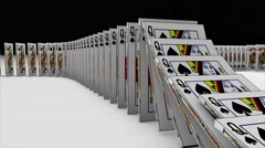 3D animation of Playing cards falling down and effect another one like a domino Stock Footage