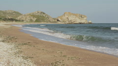 Generals beach at dawn. Karalar regional landscape park in Crimea Stock Footage