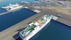 ZADAR, CROATIA - JULY 20, 2016: Aerial view of Jadrolinija ferry boats in Zadar Stock Footage