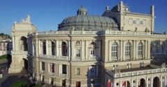 Camera tracks sideways past the Odessa Opera house Stock Footage