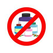 Stop doping. It is forbidden to take stimulants. Crossed-out sports nutrition Stock Illustration