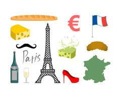 France set icons. Traditional travel symbol. Sights and characteristics of co Stock Illustration