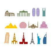Landmark travel set. Architectural monuments. Known state of building. Eiffel - stock illustration