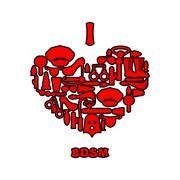 I love BDSM. Fetish icon set in heart shape. Emblem for fans of hard sex. Acc Stock Illustration