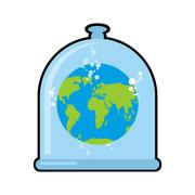 Earth in Glass bell. Conservation and protection of nature. Globe in laborato Stock Illustration