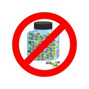 Ban doping. It is forbidden to take stimulants. Crossed-out sports nutrition  - stock illustration