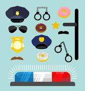 Police icons set. Symbols policeman. Cop accessories in flat style. Warning l Stock Illustration