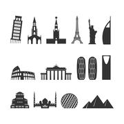 Landmark travel set. silhouette Architectural monuments. Known state of build Stock Illustration