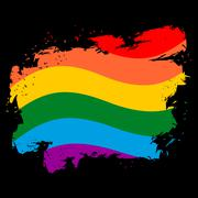 LGBT flag grunge style. Brush strokes and ink splatter. Symbol of gay and les Piirros