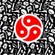 BDSM Symbol. Sign for sadist masochist love. Emblem for fans of hard sex. whi - stock illustration