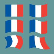 Flag of France. Set national flag of French state. State symbol of country Stock Illustration