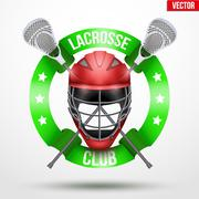 Lacrosse sticks and helmet with ribbons Piirros