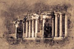 Ruins of ancient city Stock Illustration