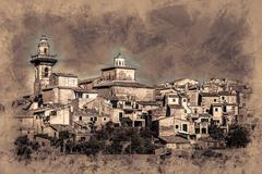 Beautiful view of the small town Valldemossa Stock Illustration