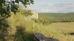 Cave city Eski-Kermen medieval fortress town in peninsula of Crimea Stock Footage
